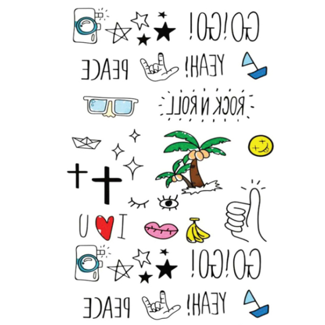 1pcs Fashion Decoration 3D Dimensional Cute Letters Tattoo Stickers DIY Funny Halloween Scrapbook Adult Student