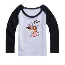 Courage The Cowardly Dog Scared Design Printed Kids T-Shirt Girls Boys Gift Tops cotton long sleeve Autumn clothes