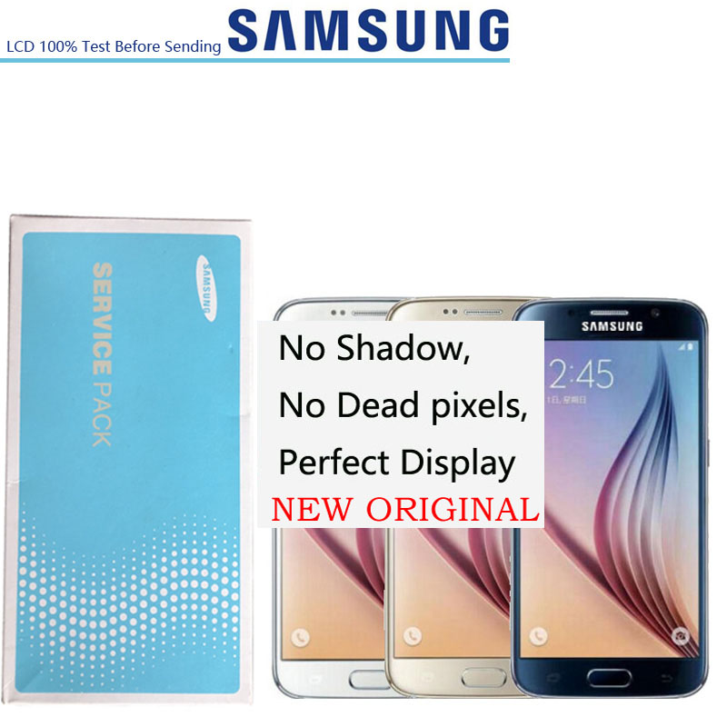 NO Burn Shadow 5.1'' Super Amoled LCDs Display For Samsung Galaxy S6 G920i G920P G920f G920V G920A G920 LCD FRAME Touch Screen