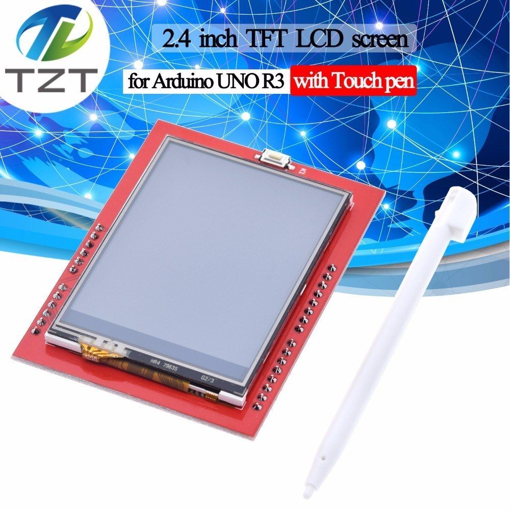 TZT 1PCS LCD Module TFT 2.4 Inch TFT LCD Screen For Arduino UNO R3 Board And Support Mega 2560 With Touch Pen ,UNO R3