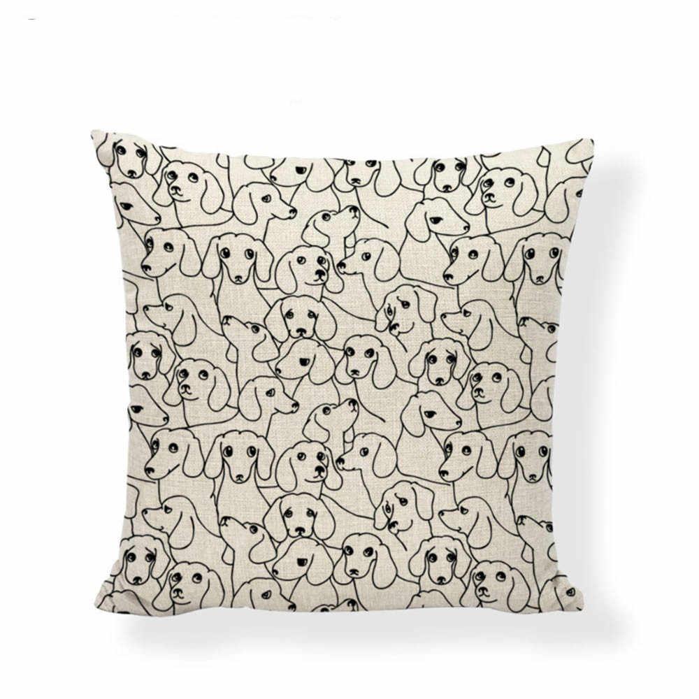 Preto E Branco da Cópia Do Cão de Estimação Capa de Almofada Simples Elefante Preguiçoso Husky 45*45 centímetros Yoga Ocasional Decoração Decoração de Casa sofá Fronha