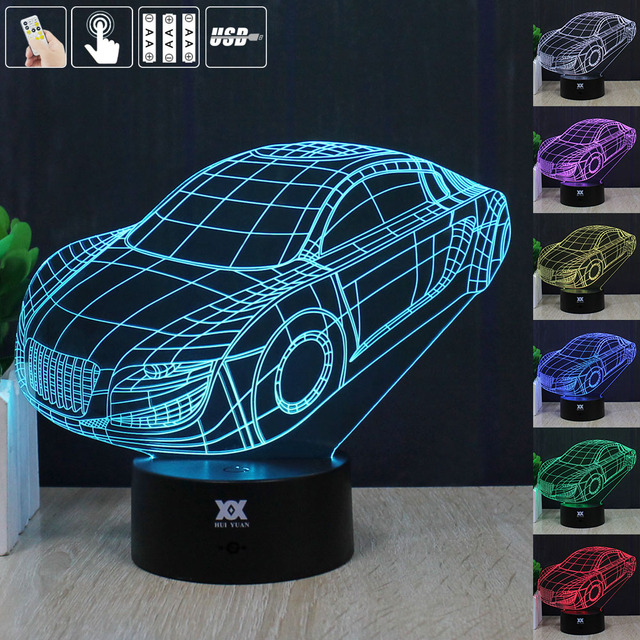 Car 3D Night Light RGB Changeable Mood Lamp LED Light DC 5V USB Decorative Table Lamp Get a free remote control