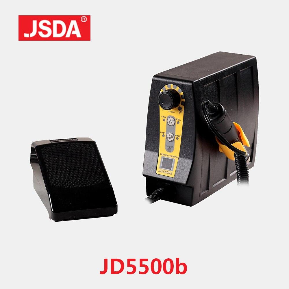 Venda quente jsda jd5500b profissional máquina de broca elétrica manicure pedicure ferramentas unhas equipamento da arte display lcd 85w 35000rpm