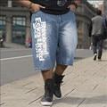 Mens big size loose baggy short jeans for men boy's hip hop skateboard pants for rappers rap trousers blue hiphop large 30-46
