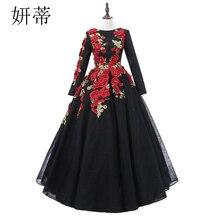 בציר שחור תחרה ארוך שרוול כדור שמלת שמלות נשף 2019 אפליקצית פרחים ואגלי סקופ מחשוף תפור לפי מידה שמלת ערב
