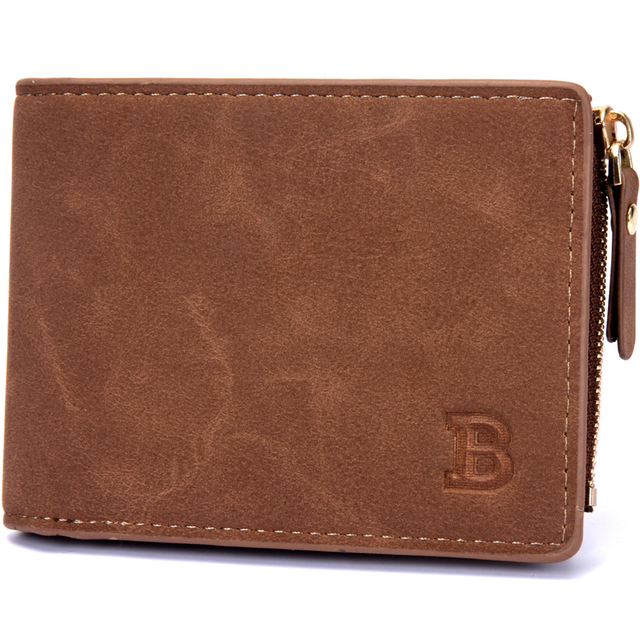 Vitage Zipper Men Wallets Leather Wallet Money Bag Credit Card Holders Dollar Bill Wallet Clutch Purse for Boy Use Short Wallets 5