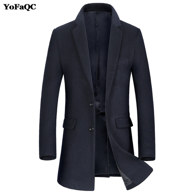 a3867724dcaa Trench Men s Coat Solid Color Jacket Mens turn down Collar ...
