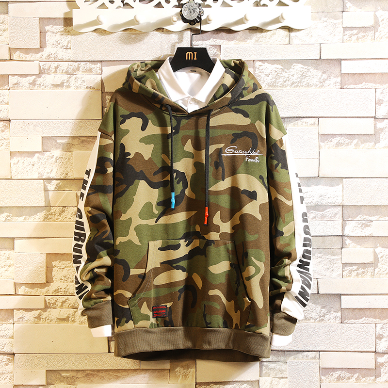 Camouflage 2019 New Arrived Hoodie Sweatshirt Men Thick Fleece Style Hip Hop High Streetwear Casual O-Neck Long-Sleeved