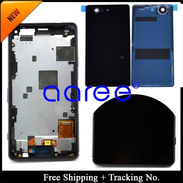 Prix pour 100% testé pour Sony Xperia Z3 mini LCD Z3 compact LCD affichage à l'écran tactile Digitizer assemblée cadre + couverture arrière