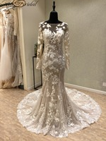 Sexy Backless Wedding Dresses Long Sleeve 2018 Light Champagne Bride Dress Appliques Lace