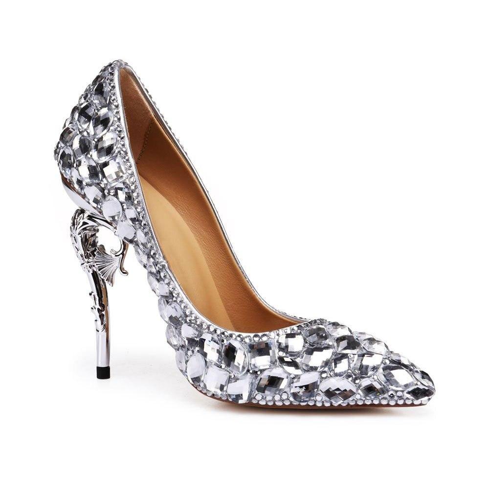 Profonde Mariage Luxe Argent À De En Sexy Bouche Pointu Femmes Mode Hauts Hippocampe Mariée Cuir Talons Peu Strass Chaussures Avec qZU8vp4w