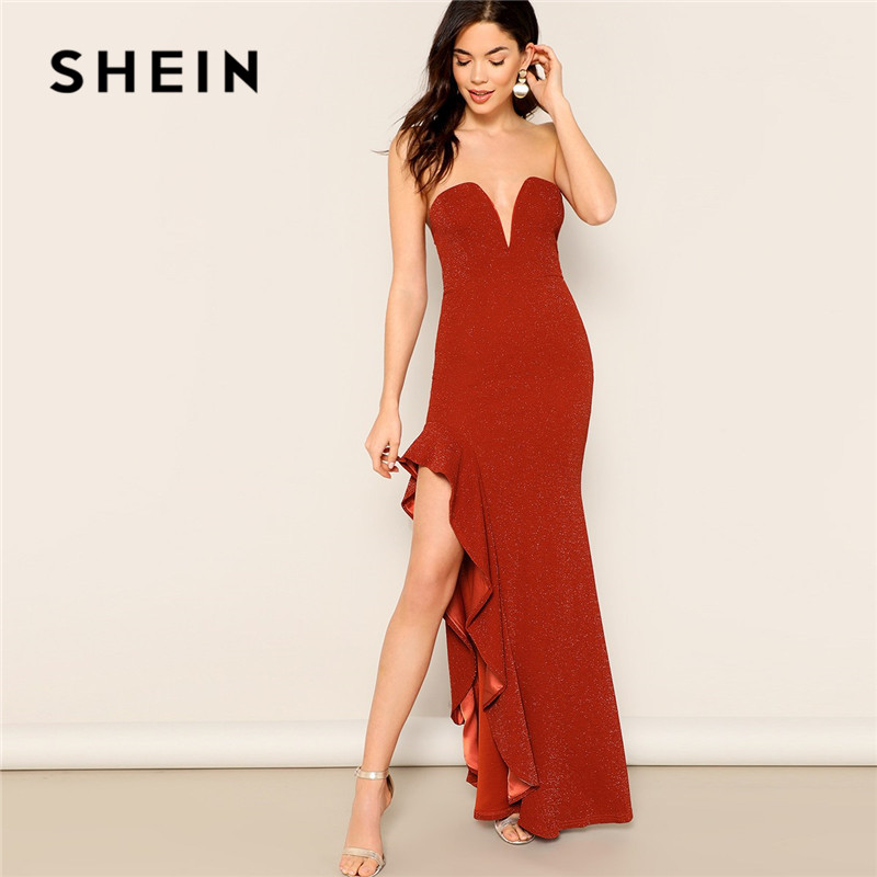 SHEIN Sexy Sweetheart V Neck Ruffle Trim Asymmetrical Split Side Glitter Maxi Dress Lady Summer Night Out Strapless Party Dress