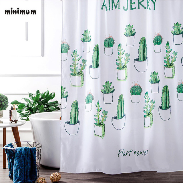 Bathroom Succulent Plants Shower Curtains 3D Digital Printing Waterproof  Thicker Bathroom Curtains Hanging Curtain Free Shipping