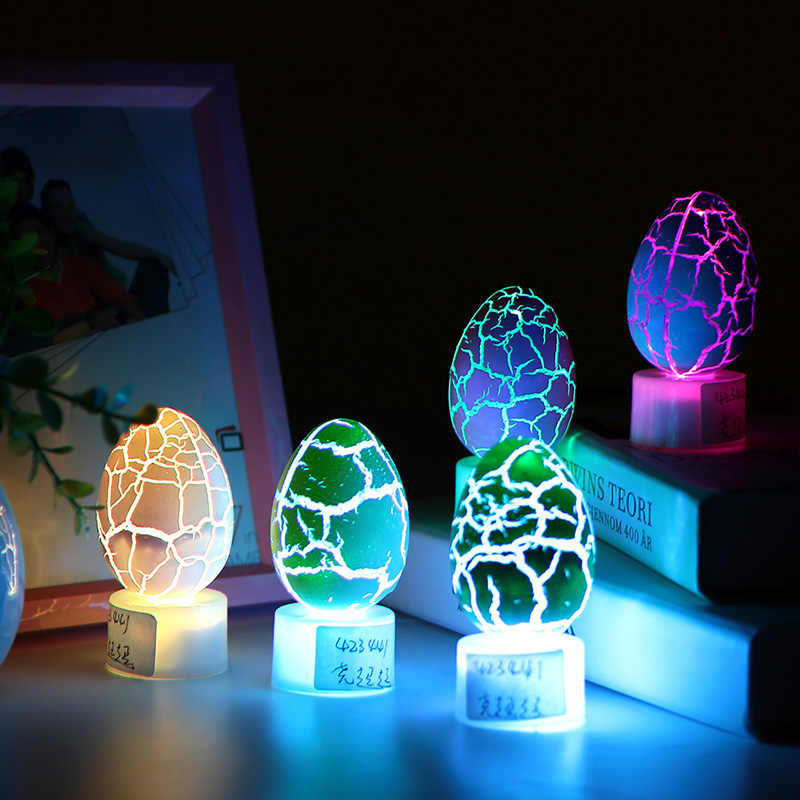 10pcs Funny Colorful Eggs Crack LED Night Lighting Accessories Random Color Bedroom Creative Festival Party Glowing Toy Random