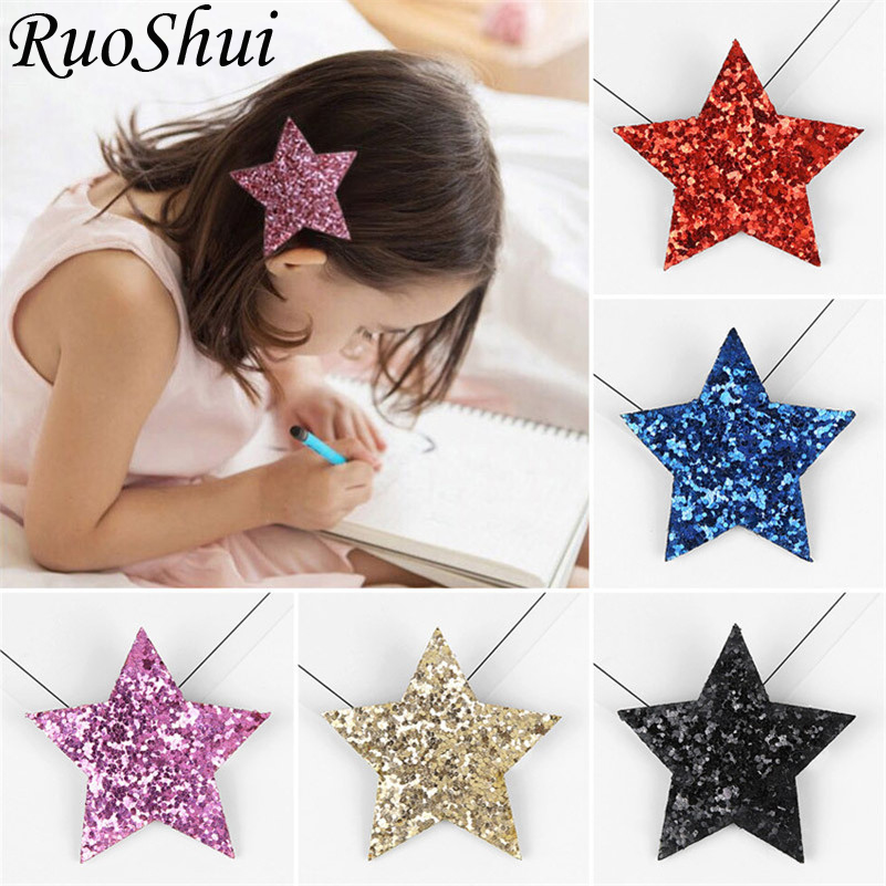 Korean Cute Princess Fashion Hairpins Five-pointed Star Glitter Hair Clips for Girls Kids Barrettes   Headwear   Hair Accessories
