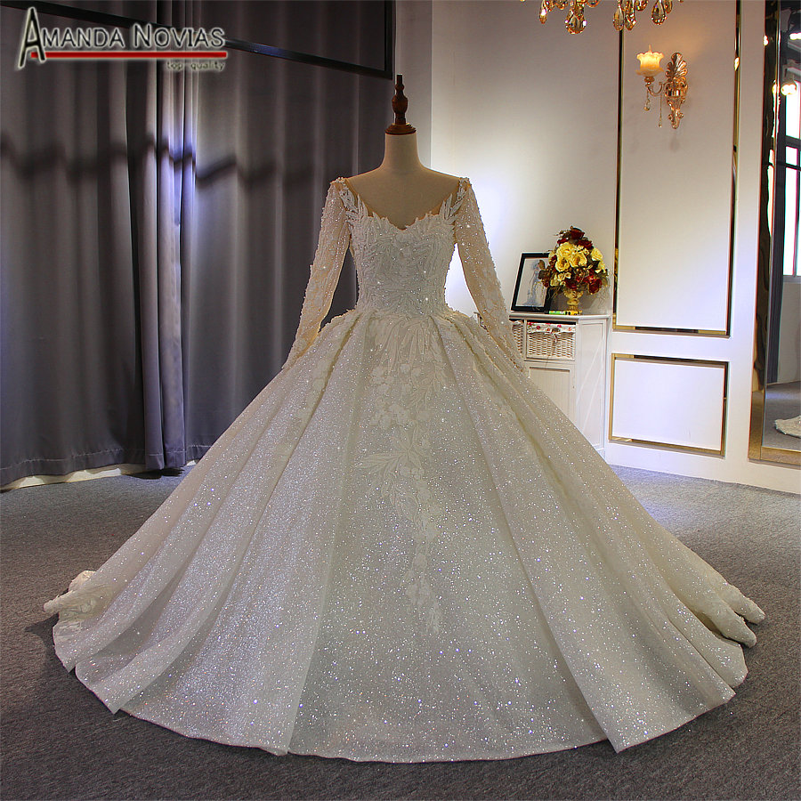 robe de soiree 2019 wedding dress with long sleeves sparkling bridal dress new