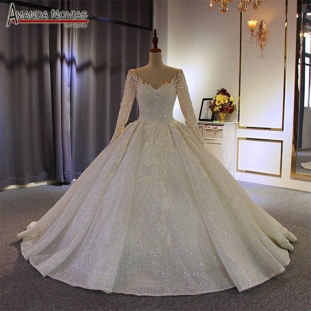 Robe de soiree 2019 שמלת כלה עם שרוולים ארוכים נוצץ כלה שמלה חדש