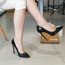 Onlymaker – escarpins à bout pointu pour femmes, chaussures en cuir verni rouge à talons fins, grande taille us 5 ~ us 15, 10 12CM