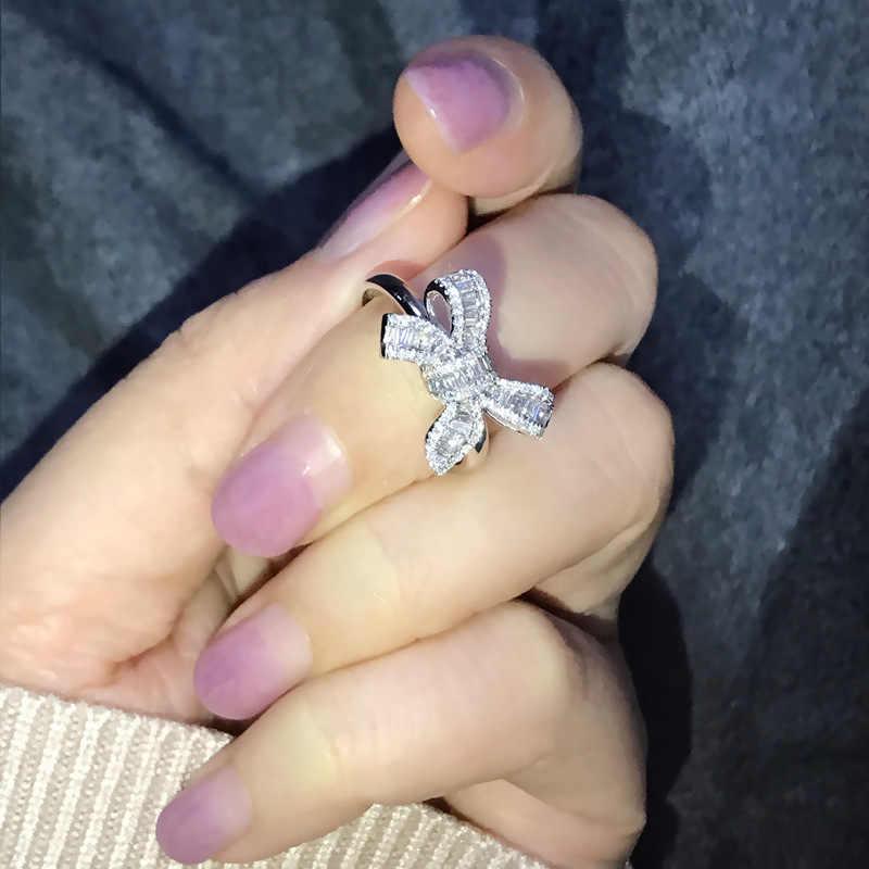 โรแมนติกแหวน Big Bowknot Micro Pave CZ แหวนคริสตัลเงินผู้หญิงเครื่องประดับวันแม่ที่ดีที่สุดของขวัญ z5M153