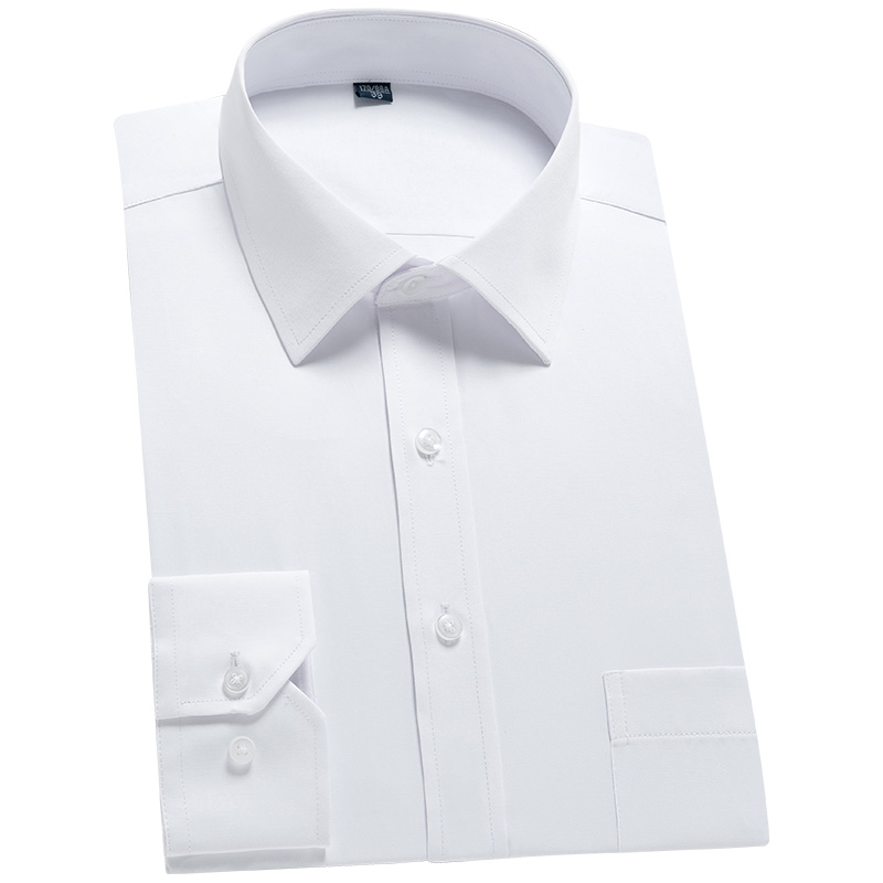 Men's Classic Long Sleeve Solid Basics Dress Shirts Comfortable Soft Formal Business Standard-fit Twill Work Office White Shirt