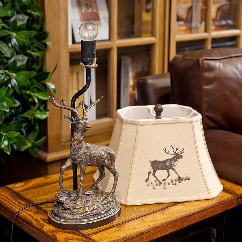 European American style table lamp country retro living room study bedside table lamp creative decoration deer table lamp