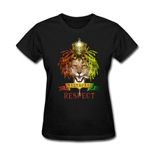 Lion Roi Logo Conception Rastafari Respect Femmes t-shirt de Cadeau Art T-Shirt Faire Fille Jaune Tee Tops(China)