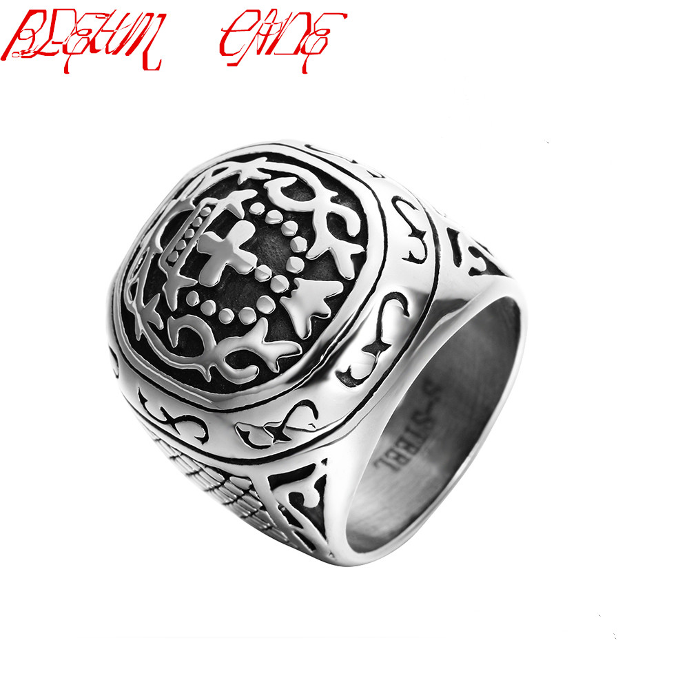 Fashion Punk Stainless Steel Cross Finger Ring Men Women Fashion Wedding Crown Jewelry