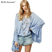 S Gloris Boho Ethnic Embroidery Floral Drawstring Neckline Flare Sleeve Blouse Lace Up Women S Casual