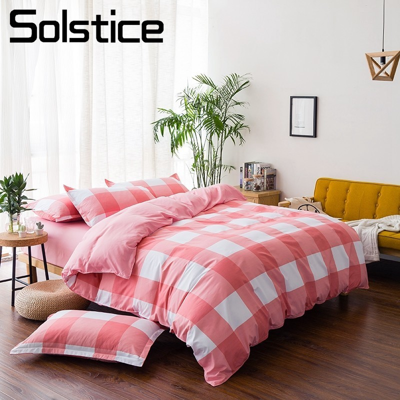 Solstice Home Textile Teen Double Bedlinen Duvet Cover Pillowcase Bed Sheet King Full Twin Size Lattice Stripe Girl Bedding Set