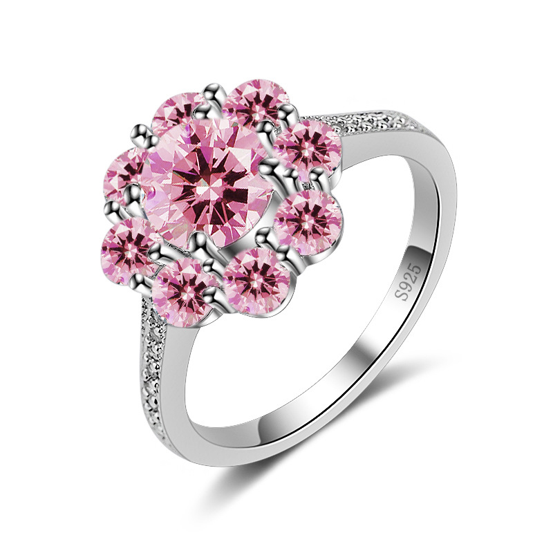 H:HYDE 2018 Elegant Beautiful Pink Cubic Zircon Crystal Flowers Wedding Rings Jewelry for Women Girlfriend Woman Party Gifts