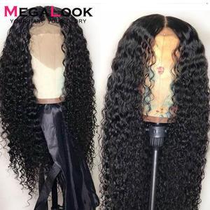 Peruca dianteira do laço encaracolado 13x4 perucas de cabelo humano remy glueless pré arrancadas peruca frontal do laço 30 Polegada perucas para preto peruano 180%