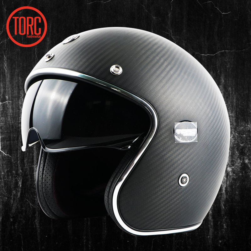 TORC koolstofvezel motorhelm vintage open helm vespa motorbike - Motoraccessoires en onderdelen - Foto 2