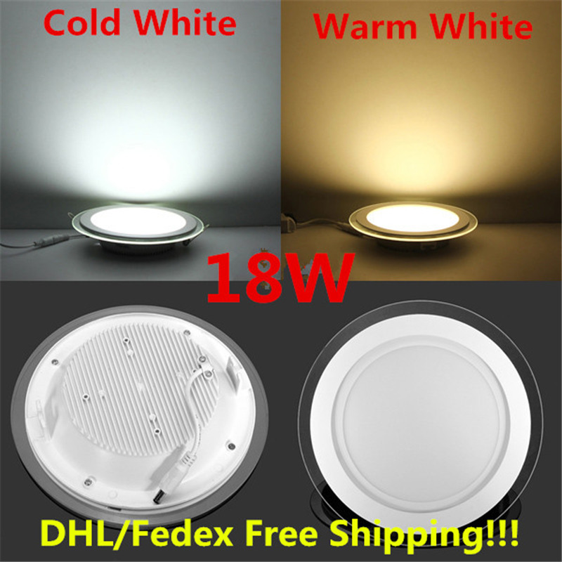 10pcs 6w 9w 12w 18w led panel downlight glass Round ceiling recessed panel light AC85-265V with <font><b>adapter</b></font> Warm/Natural/Cold White image