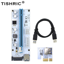 10 pcs TISHRIC VER008S 3 in 1 Molex 4Pin SATA 6PIN PCIE PCI e pci Express Riser Card 008 1x om 16x USB 3.0 Kabel Voor Mining Miner