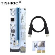 10 stücke TISHRIC VER008S 3 in 1 Molex 4Pin SATA 6PIN PCIE PCI E PCI Express Riser Karte 008 1x zu 16x USB 3.0 Kabel Für Bergbau Bergmann