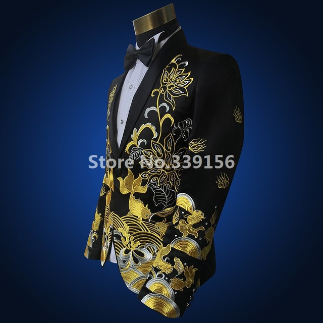 Fashion gold embroidery Mens black/red Wedding Suit jacket fashion slim totem embroidered formal party prom Men Suit Blazers