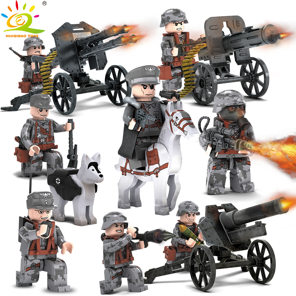 Military WW2 German Swat soldiers Compatible Legoed City Police Assault Army Weapons Gun Figure building Blocks toy for children police station swat command car soldiers