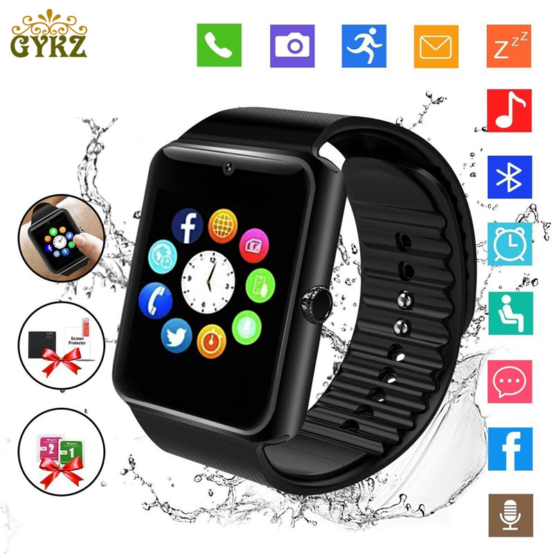 купить GYKZ Men Bluetooth Smart Watch GT08 With Touch Screen Big Battery Support TF Sim Card Camera For IOS iPhone Android Phone по цене 619.46 рублей