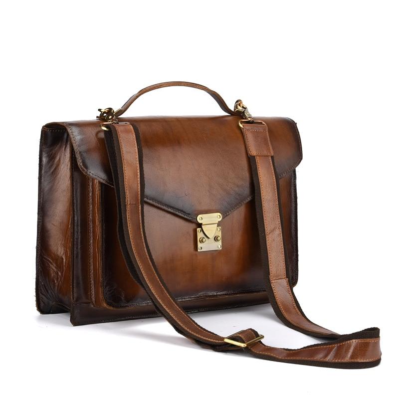 Brown Männer Laptoptasche Tasche Taschen Bags Aktentaschen Crazy Messenger Crossbody Leder Horse Handtasche Schulter Echtes nxqnFOw7g