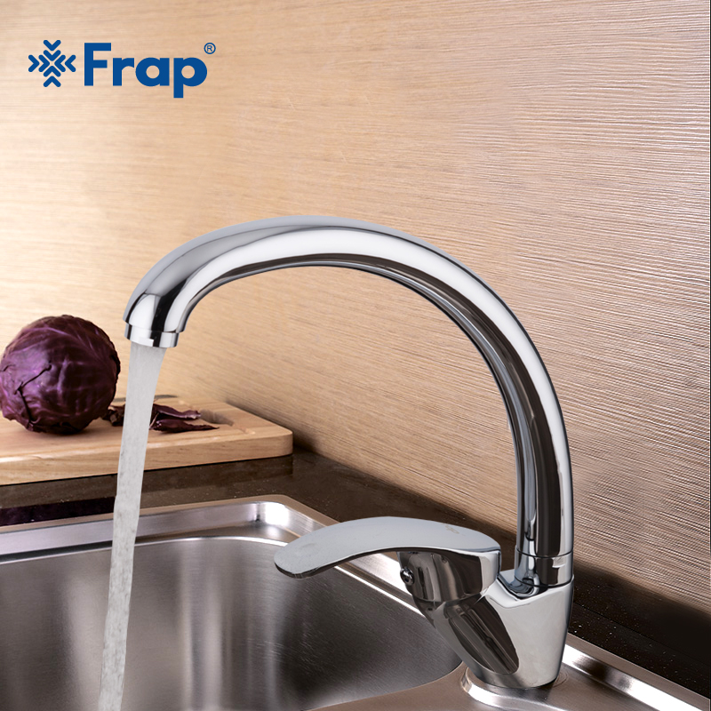 Frap 1set 2018 New Zinc Alloy 360 Degree Rotation Kitchen Sink Faucet Single Handle Cold And Hot Water Mixer Tap  Crane F4136-b