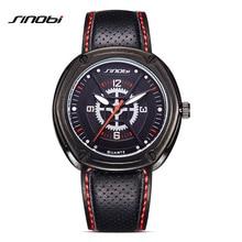 SINOBI New Tough Men Sports Wrist Watch Breathable leather watchband Luxury Brand Geneva Quartz Clock 2017 Locomotive Waterproof
