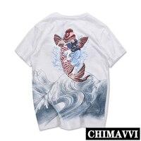 Japanese Embroidered Carp Men's Short Sleeve T shirt Yokosuka Summer Tattoo Men and Women Lovers Tee Couples Plus Size Tee Shirt