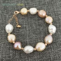 Rainbow Lustrous Semi Baroque Irregular Pearl And Rose Golden Beads Bracelet Mixed Color White Pink Purple