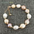Rainbow Lustrous semi baroque irregular pearl and rose golden beads bracelet Mixed color white pink purple freshwater pearls