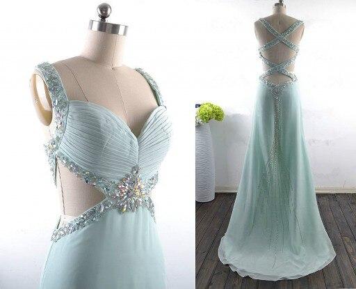 Élégant mode robe de bal a-ligne perles cristaux livraison gratuite Elie Saab longue robe de bal robe de soirée robes Occasion