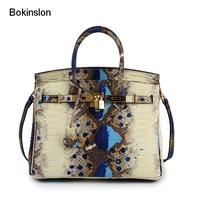 Bokinslon Woman Big Handbags Split Leather Embossed Ladies Shoulder Bags Serpentine Fashion Women Crossbody Bag