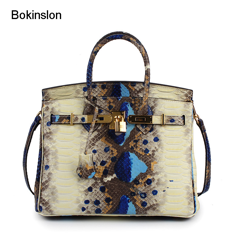 Bokinslon Woman Big Handbags Split Leather Embossed Ladies Shoulder Bags Serpentine Fashion Women Crossbody Bag lenovo 520 22iku black f0d50004rk