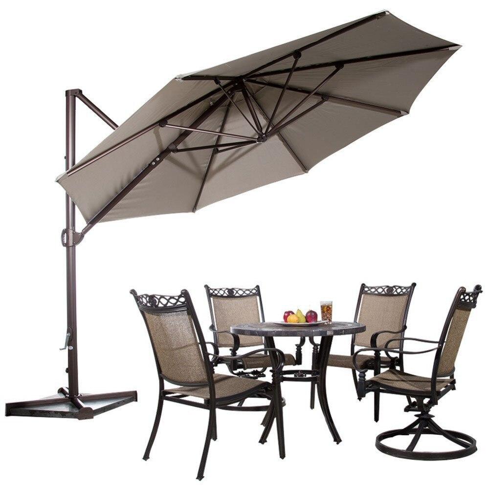 ... Abba Patio Garden Outdoor Furniture 11 Feet Aluminum Offset Cantilever  Umbrella With Cross Base Tan ...