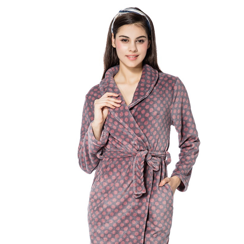 FRALOSHA Bathrobe Women Polka Dot Warm Flannel Bathrobe Ladies Robes ...