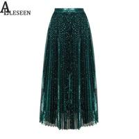 High Street Lüks Plise Etek Kadınlar 2018 Yeni Moda Kış Tasarımcı Draped A-Line Etekler Yeşil Payetli Uzun Etek